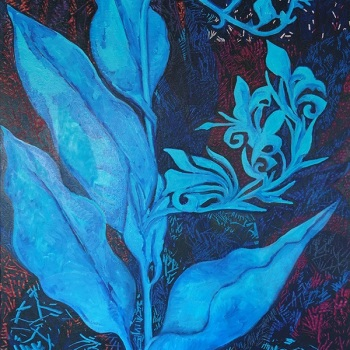 'Canna Lily in Blue' Oil on canvas 100cm x 70cm