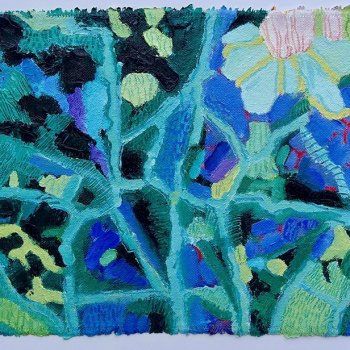 'Leaf Map' Oil on canvas Framed dimensions 38cm x 62cm