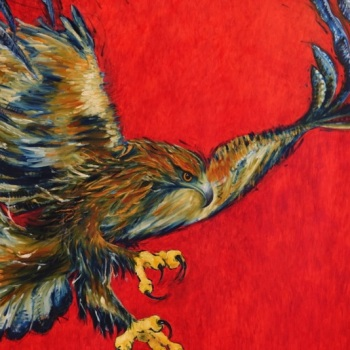 'Golden Eagle Crimson Lake' 204cm x 240cm Oil on canvas