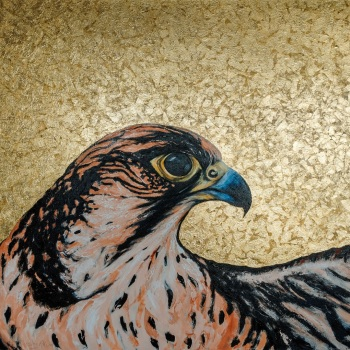 'Lanner Falcon Golden Icon' 120cm x 150cm Mixed media on canvas