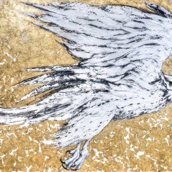 'White Gyr Falcon - Golden Air 1' 100cm x 162cm Mixed Media on canvas