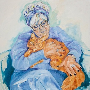 'Karol and Garfield' Oil on canvas 100cm x 100cm