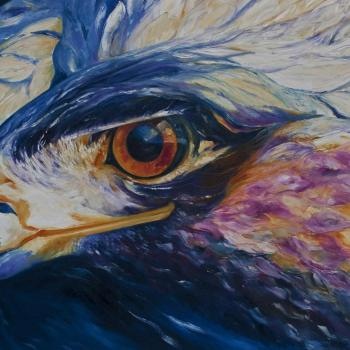 'Head of golden eagle' Oil on canvas 100cm x 152cm