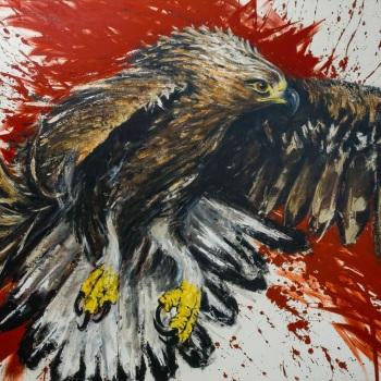 'Golden Eagle Power' Acrylic on canvas 120cm x 150cm