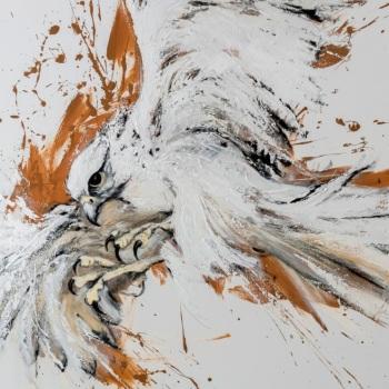 'White Gyr Falcon Power' Acrylic on canvas 122cm x 76cm
