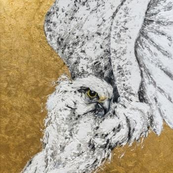 'White Gyr Falcon Glory' Mixed media 100cm x 64cm