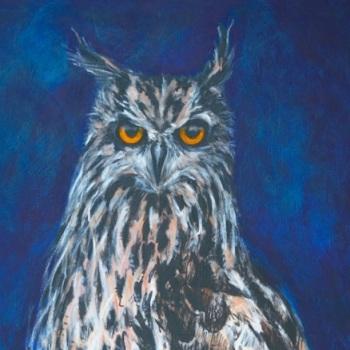 'Owl' Acrylic on canvas 100cm x 64cm