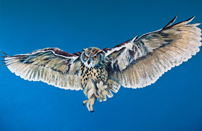 023-Eagle-Owl-Coming-into-Land-Oil-on-Canvas-140x200cm
