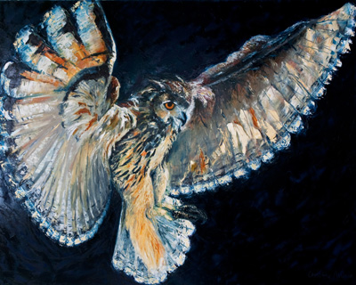 024-Eagle-Owl-Coming-into-Land-Oil-on-Canvas-122x152cm