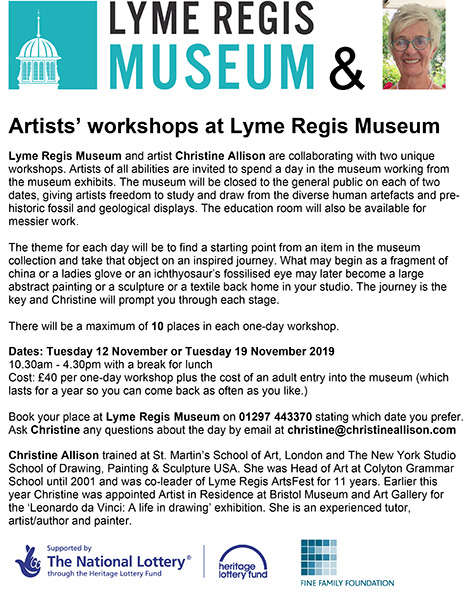 Artists workshops at Lyme Regis Museum