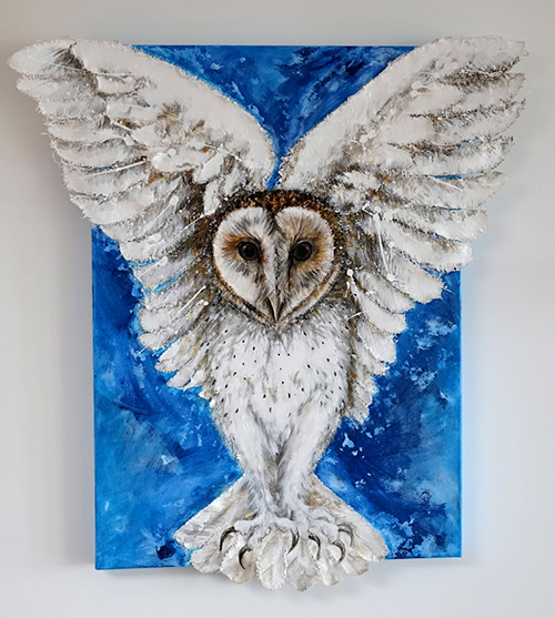 painting of a barn owl